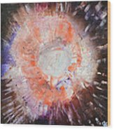 Cosmic Burst Orange Brown White Abstract Art By Chakramoon Wood Print
