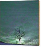 Cosmic Sky Winter Tree Wood Print