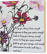 Cosmos Poem Wood Print