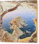 Costa Brava In Spain With Crayons Wood Print