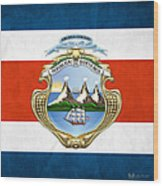 Costa Rica Coat Of Arms And Flag  Wood Print