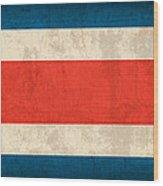 Costa Rica Flag Vintage Distressed Finish Wood Print