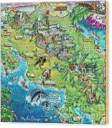 Costa Rica Map Illustration Wood Print