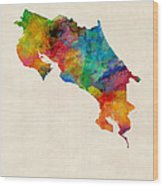 Costa Rica Watercolor Map Wood Print by Michael Tompsett