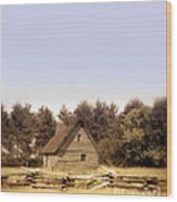 Cottage And Splitrail Fence Wood Print