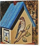 Cottage Birdhouse-back Wood Print