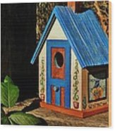 Cottage Birdhouse Wood Print