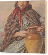 Cottage Girl Seated With A Pitcher Wood Print