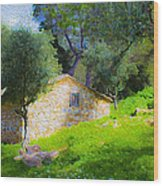 Cottage In The Forest Wood Print