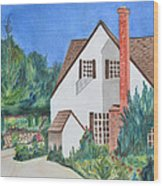 Cottage On A Hill Wood Print