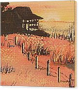 Cottage On Beach Wood Print