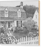 Cottage Pencil Portrait Wood Print