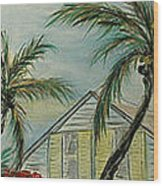 Cottage Rooftops And Palm Trees Harbor Island Wood Print