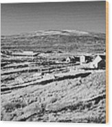 cottages and holiday homes with fields with dry stone walls gweedore county Donegal Republic of Ireland Wood Print