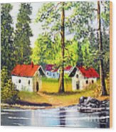 Cottages By The Lake Wood Print
