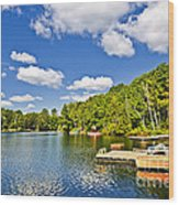 Cottages On Lake With Docks Wood Print