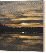 Cotton Ball Clouds Sunset Wood Print