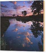 Cotton Ball Sunrise Wood Print