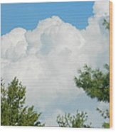 Cottonballs In The Sky Wood Print