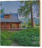 Cottonwood Cottage At Sunset Wood Print