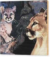 Cougar And Babe Wood Print