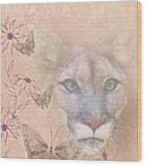 Cougar And Butterflies Wood Print