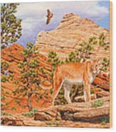 Cougar - Don't Move Wood Print by Crista Forest