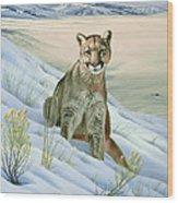 'cougar In Snow' Wood Print