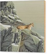 Cougar Perch Wood Print