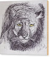 Cougar Sketch 3 Wood Print