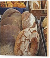 Country Bread And Muffins Wood Print