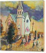 Country Church At Sunset Wood Print