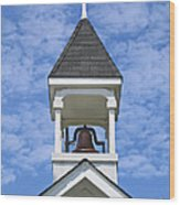 Country Church Bell Wood Print