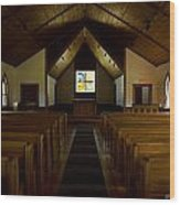 Country Church Interior Wood Print