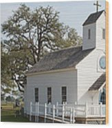 Round Top Texas Country Church Wood Print
