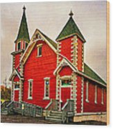 Country Church Paint Wood Print