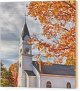 Country Church Under Fall Colors Wood Print