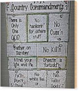 Country Commandments Wood Print