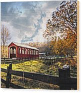 Country Covered Bridge Wood Print by Debra and Dave Vanderlaan