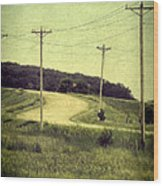 Country Dirt Road And Telephone Poles Wood Print