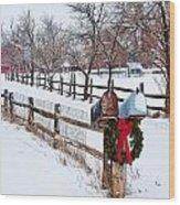 Country Holiday Cheer Wood Print