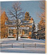 Country Home Oil Wood Print