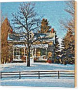 Country Home Watercolor Wood Print