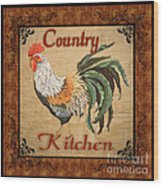 Country Kitchen Rooster Wood Print