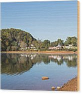 Country Lake Scene Wood Print