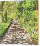 Country Lane Watercolour Wood Print
