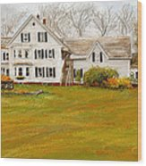 Country Moments-farmhouse In Woodstock Vermont Wood Print