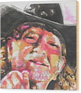 Country Music Artist...willie Nelson Wood Print