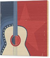 Country Music Poster With Guitar On Old Wood Print