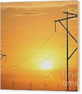 Country Powerline's Wood Print